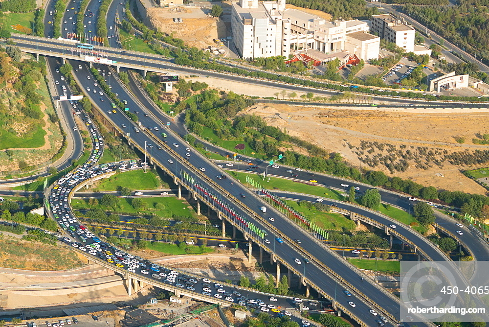 Aerial view of yet another traffic jam, Tehran, Iran, Middle East