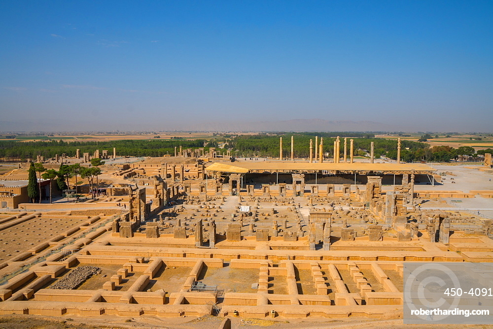 Overview of Persepolis from Tomb of Artaxerxes III, Persepolis, UNESCO World Heritage Site, Iran, Middle East