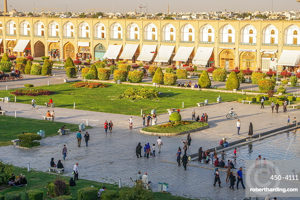 View across Naqsh-e (Imam) Square, UNESCO World Heritage Site, from Ali Qapu Palace, Isfahan, Iran, Middle East