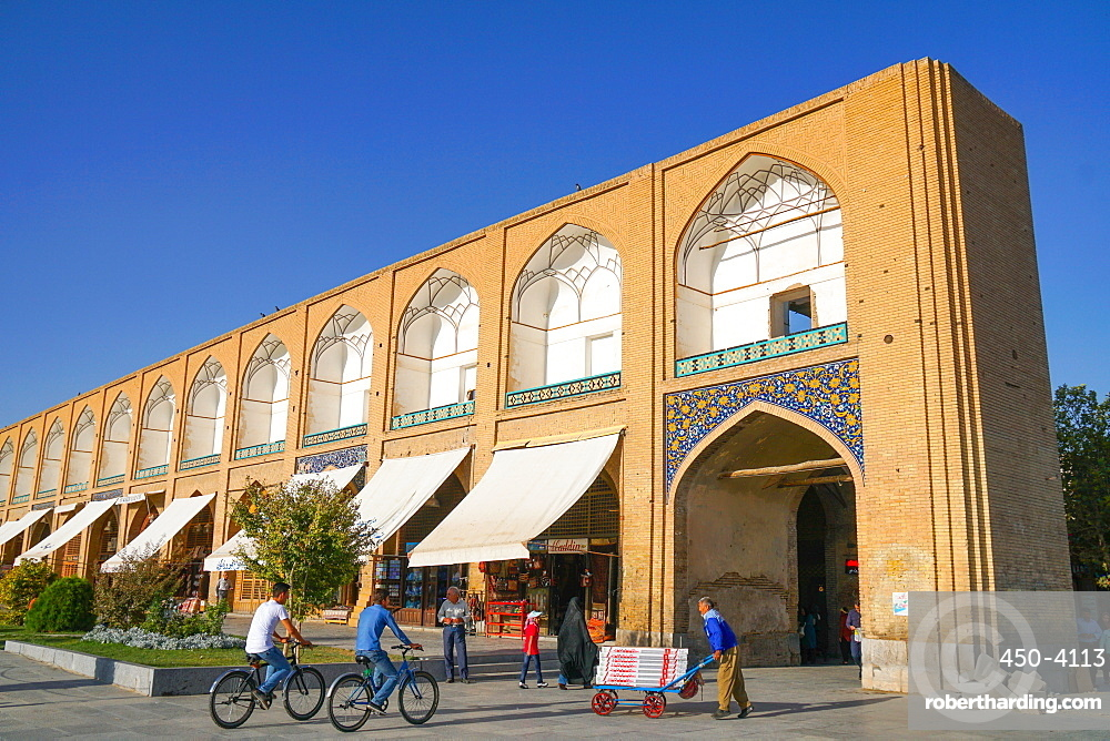 Late afternoon at the shops on Naqsh-e Jahan (Imam) Square, Isfahan, Iran, Middle East