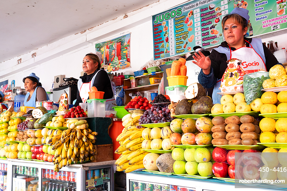Line up of fruit and juice sellers, main market, Sucre, UNESCO World Heritage Site, Bolivia, South America