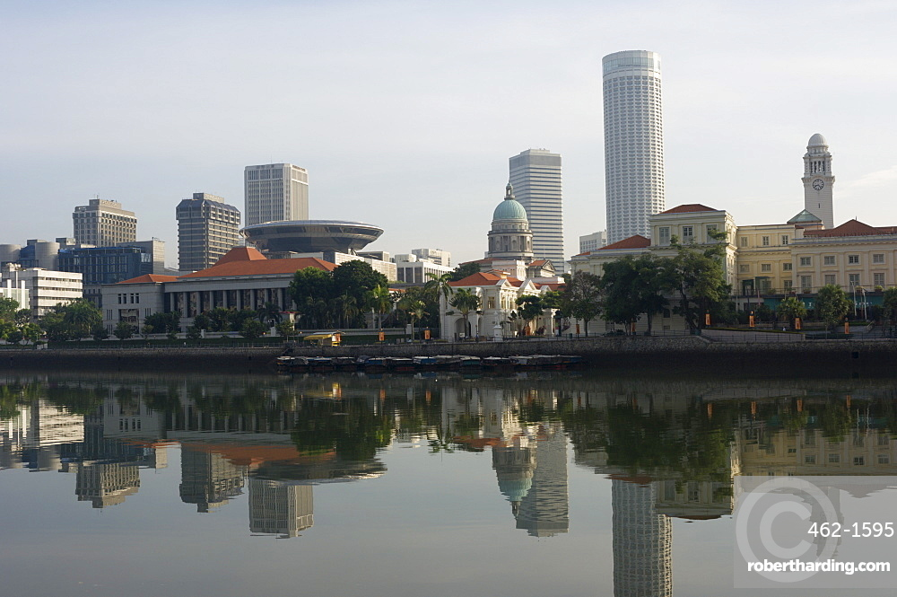Parliament Buildings from Boat Quay, Singapore, Southeast Asia, Asia