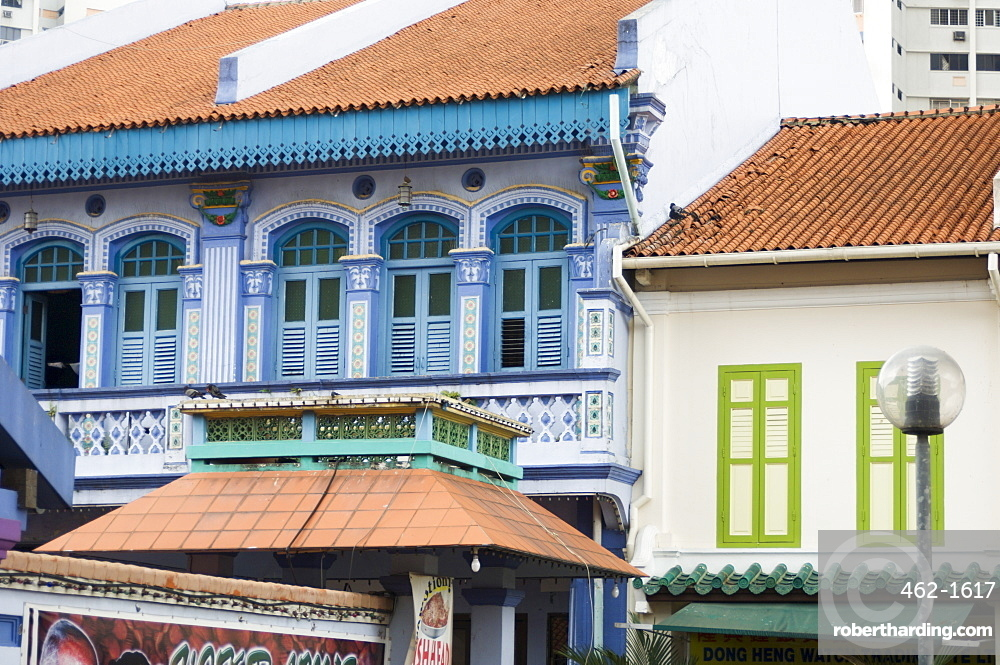 Colourfully painted houses in Little India, Singapore, Southeast Asia, Asia