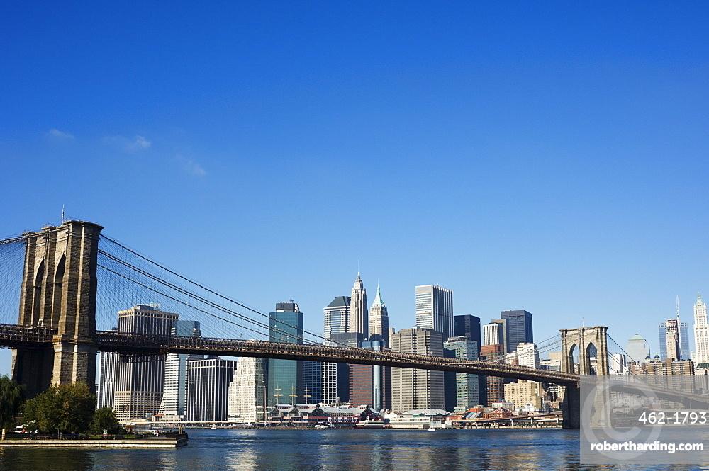 Manhattan skyline, Brooklyn Bridge and the East River, New York City, New York, United States of America, North America