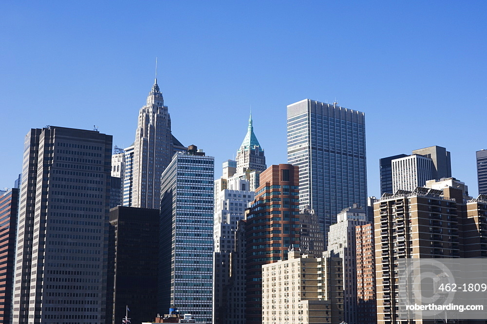 Tall buildings in the Financial District of Lower Manhattan, New York City, New York, United States of America, North America