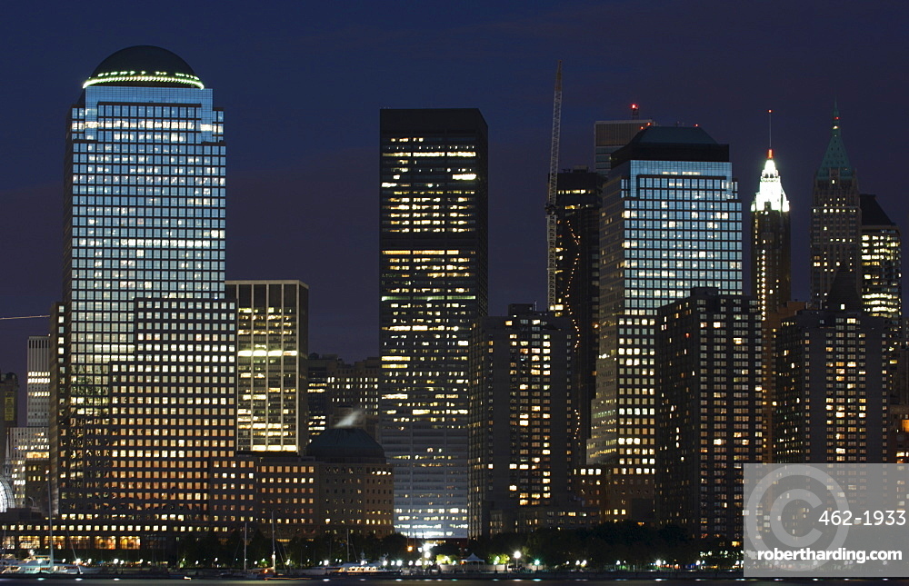 World Financial Center buildings and Lower Manhattan skyline across the Hudson River, New York City, New York, United States of America, North America