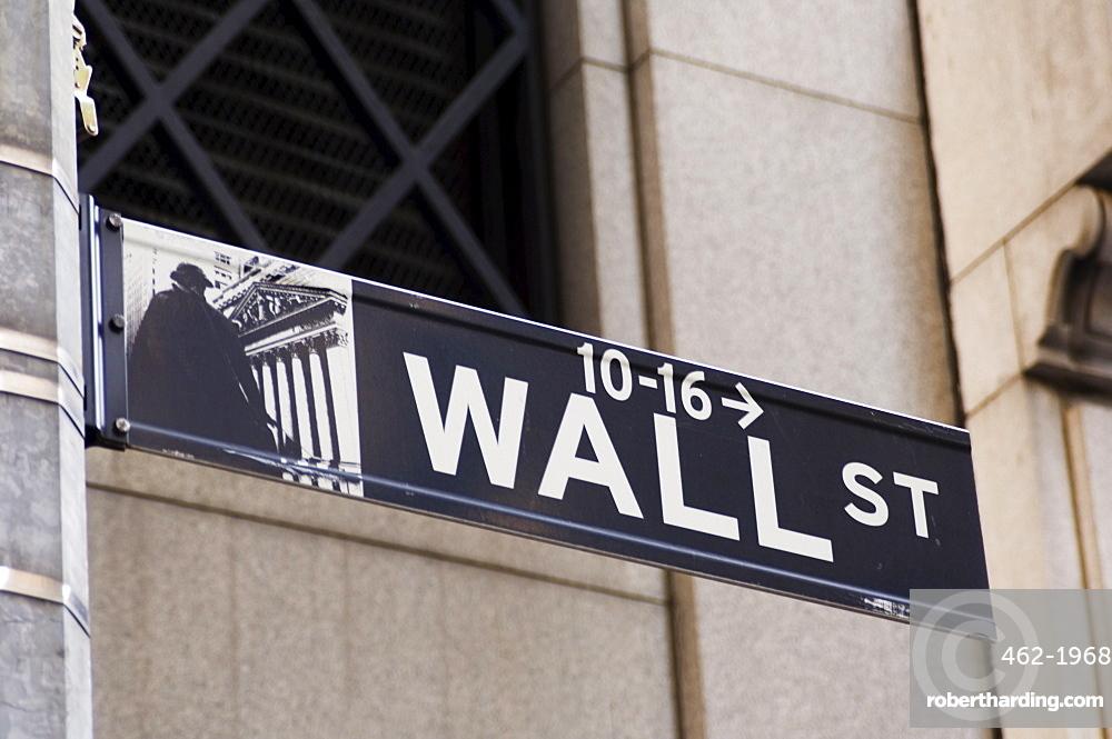 Wall Street sign Manhattan, New York City, New York, United States of America, North America