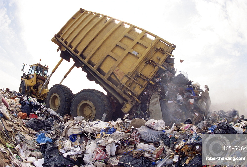 Lorry arrives at waste tipping area at landfill site, Mucking, London, England, United Kingdom, Europe
