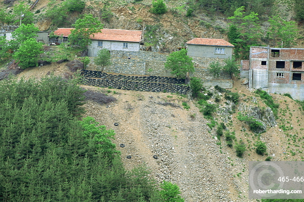 Old tyres used to form terracing in attempt to halt erosion, near Ernareka, Bulgaria, Europe