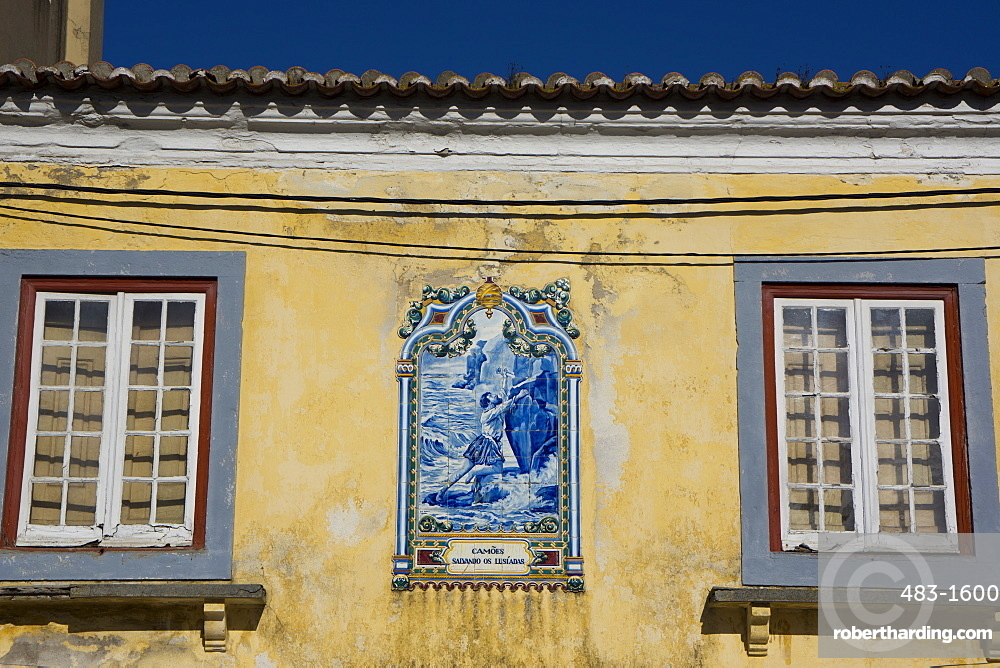 Tile tableau on old house, Peniche, Centro, Portugal, Europe