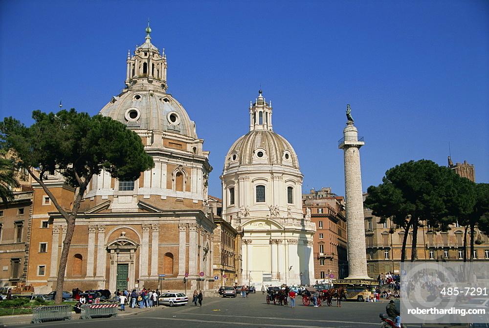 S Maria di Loreto and S Nome di Maria and Trajans Column in Rome, Lazio, Italy, Europe