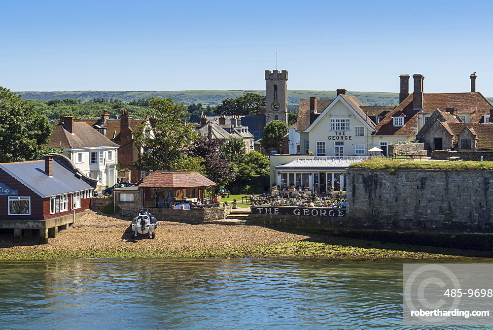 Yarmouth from The Solent in summer, Isle of Wight, England, United Kingdom, Europe
