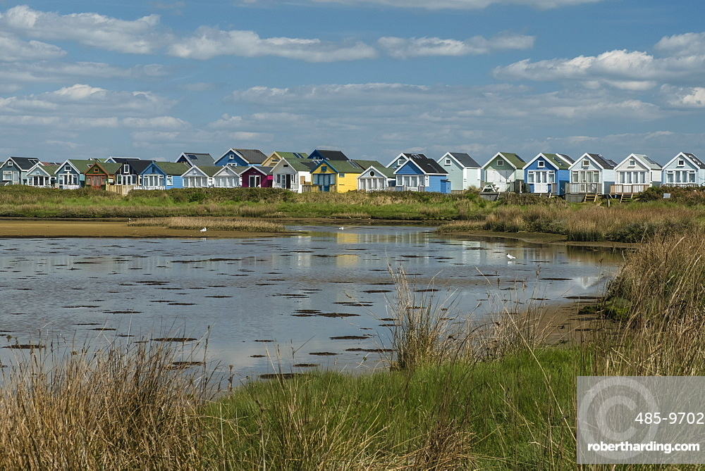 Beach huts and Lagoon, Mudeford Spit, Christchurch Harbour, Dorset, England, United Kingdom, Europe
