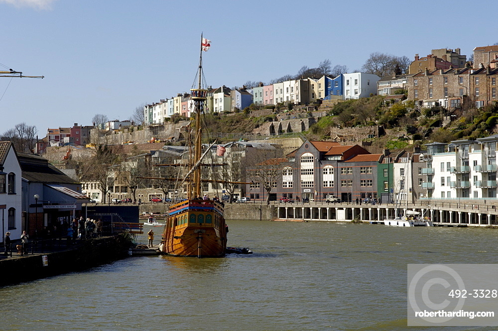 Harbour view to Hotwells with replica sailing ship The Matthew, Bristol, England, United Kingdom, Europe
