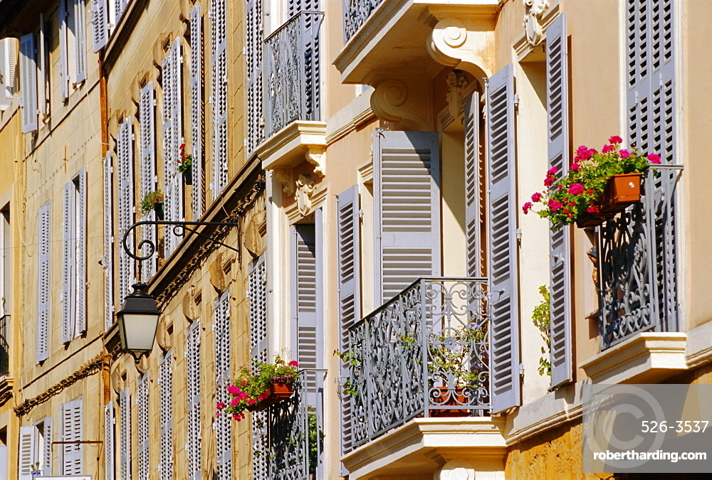 Shutters and balconies, Aix en Provence, Provence, France, Europe