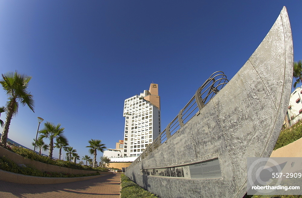 Public garden commemorating first migrants who reached Israel by sea, with memorial in shape of a boat and David tower in the background, London Square, Jaffa, Tel Aviv, Israel, Middle East