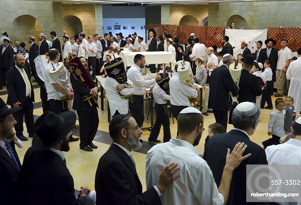 Jews dancing with Torah scrolls, Simhat Torah Jewish Festival, Jerusalem, Israel, Middle East