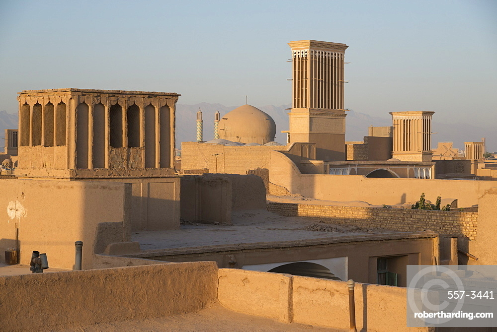 Old City skyline with bagdirs windtowers, Yazd, Iran, Western Asia