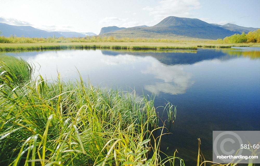 Tranquil landscape, Nikkaluotta, Kiruna, Arctic Sweden, Sweden, Scandinavia, Europe