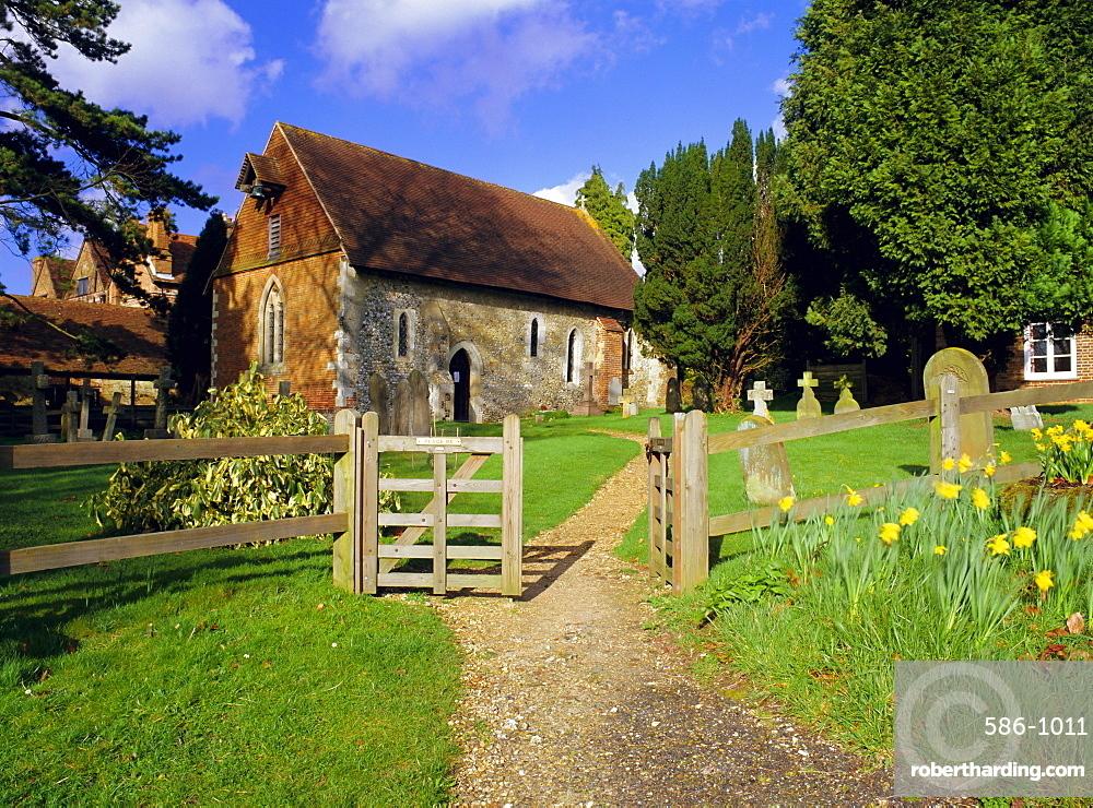 St. Bartholomew's church, built circa 1060, the smallest church in Surrey, Wanborough, Surrey, England, UK, Europe