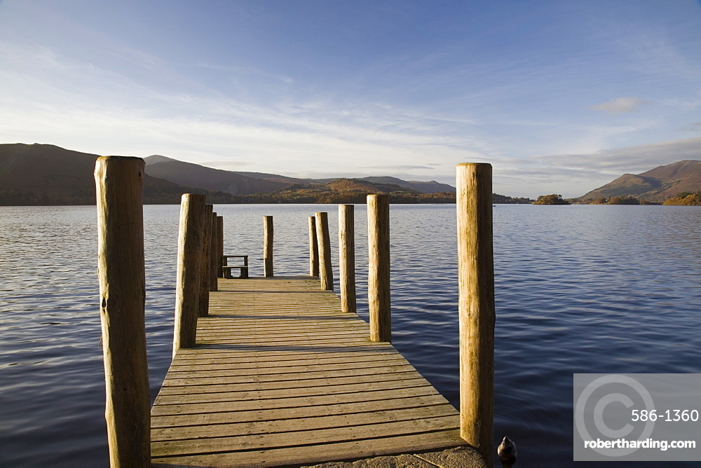 Wooden jetty at Barrow Bay landing on Derwent Water looking north west in autumn, Keswick, Lake District National Park, Cumbria, England, United Kingdom, Europe