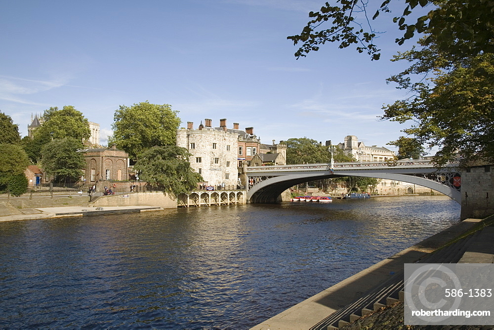 River Ouse with Lendal Bridge and Lendal Tower beyond, York, Yorkshire, England, United Kingdom, Europe