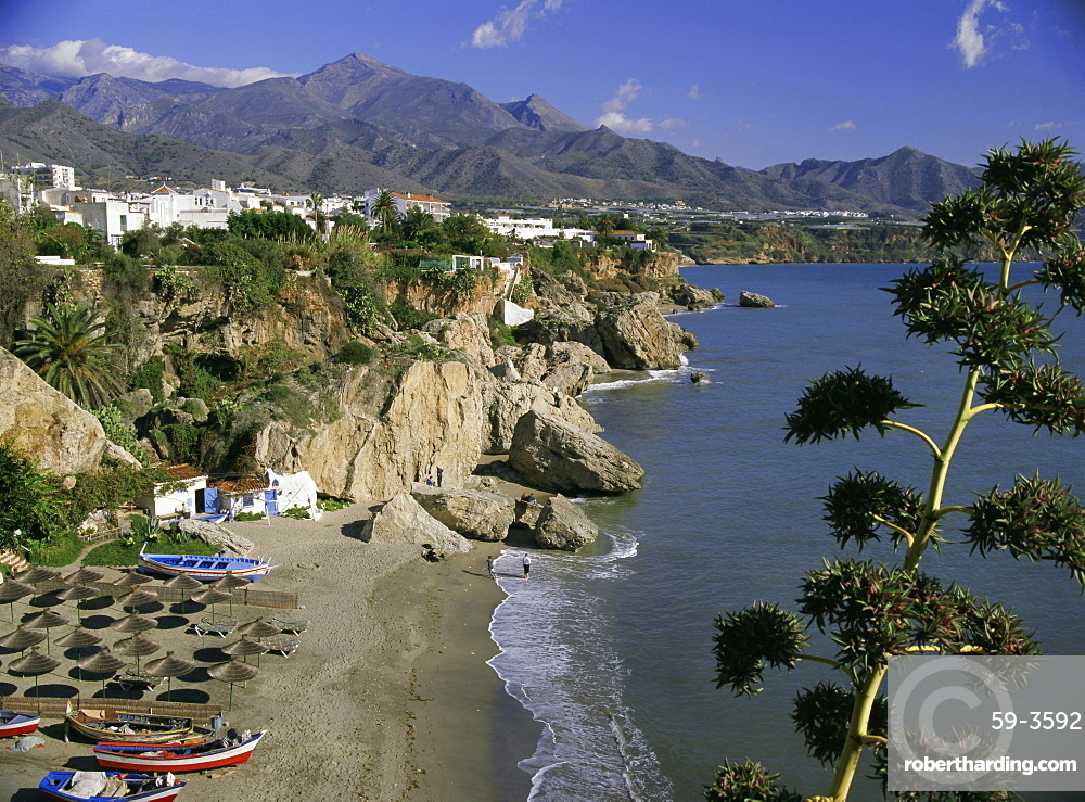 Salon Beach from Balcon de Europe, Nerja, Andalucia (Andalusia), Spain, Europe