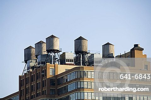 Water towers on building, Manhattan, New York City, New York, United States of America, North America