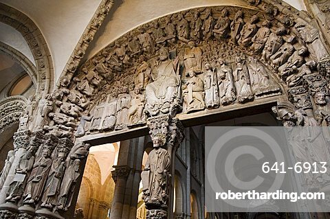 Details from the Porch of La Gloria, a masterpiece of Romanesque art, Santiago cathedral, UNESCO World Heritage Site, Santiago de Compostela, Galicia, Spain, Europe
