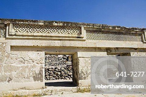 Fantastic geometric carving, Mitla, ancient Mixtec site, Oaxaca, Mexico, North America