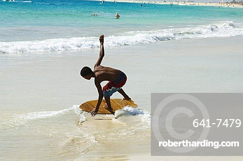 Beach surfing at Santa Maria on the island of Sal (Salt), Cape Verde Islands, Africa