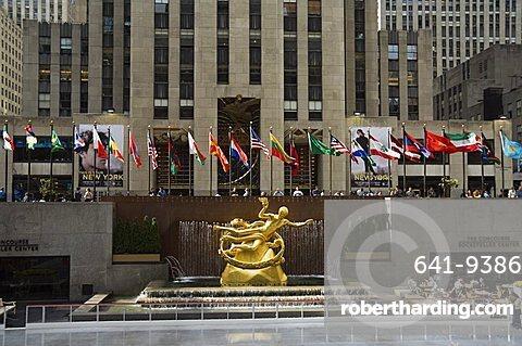 Rockefeller Center Ice Rink, Manhattan, New York, New York State, United States of America, North America