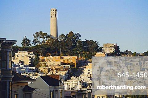 Coit Tower and Telegraph Hill, San Francisco, California, USA