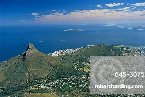 Aerial view over Lion's Head from Table Mountain, Cape Town, South Africa