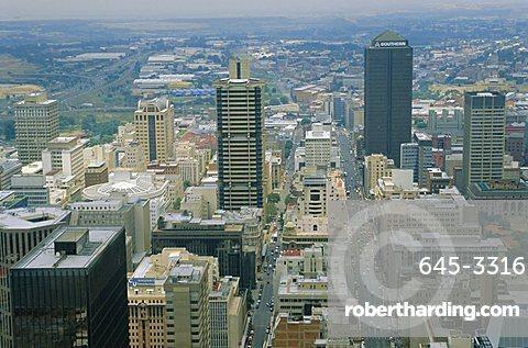 Aerial view of Johannesburg city centre