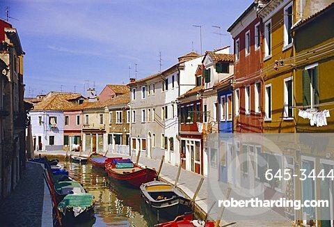 Canal in Burano, Venice, Italy