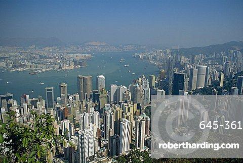 Aerial view of Hong Kong Harbour, China