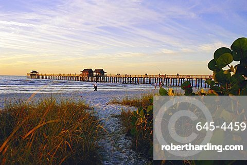 Naples, Florida, USA. Sunset at the beach and pier