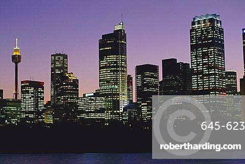 City skyline at dusk, Sydney, New South Wales, Australia