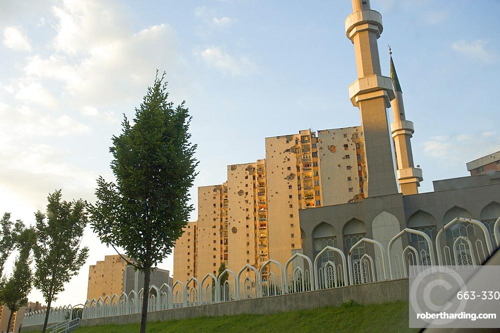 War damaged apartment blocks, Sarajevo, Bosnia, Bosnia-Herzegovina, Europe