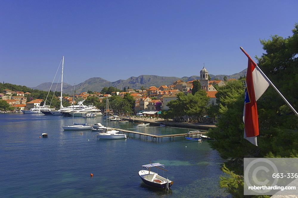 Luxury yachts moored at Cavtat, Dalmatia, Croatia, Europe