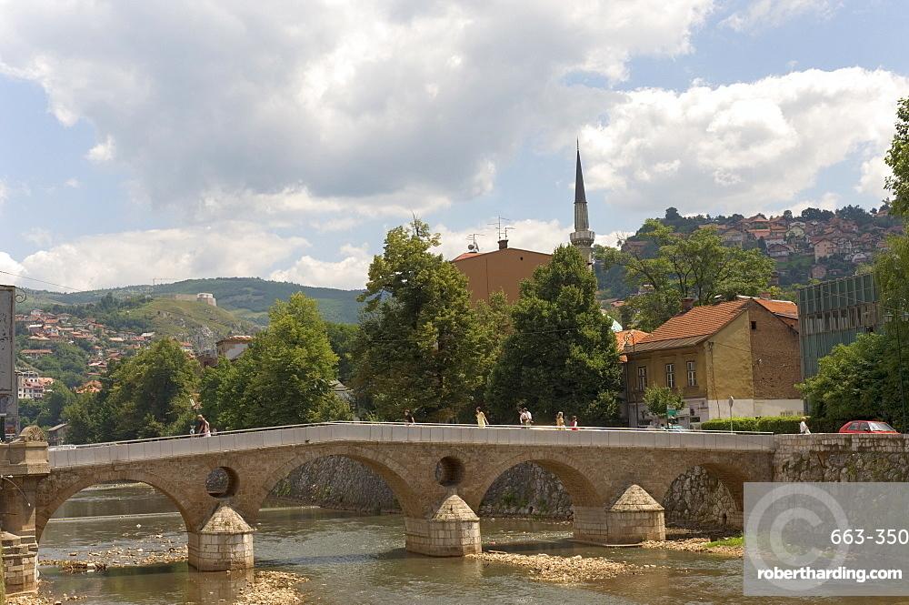 The Latin Bridge (Latinska cuprija), across the River Miljacka, Sarajevo, Bosnia, Bosnia-Herzegovina, Europe