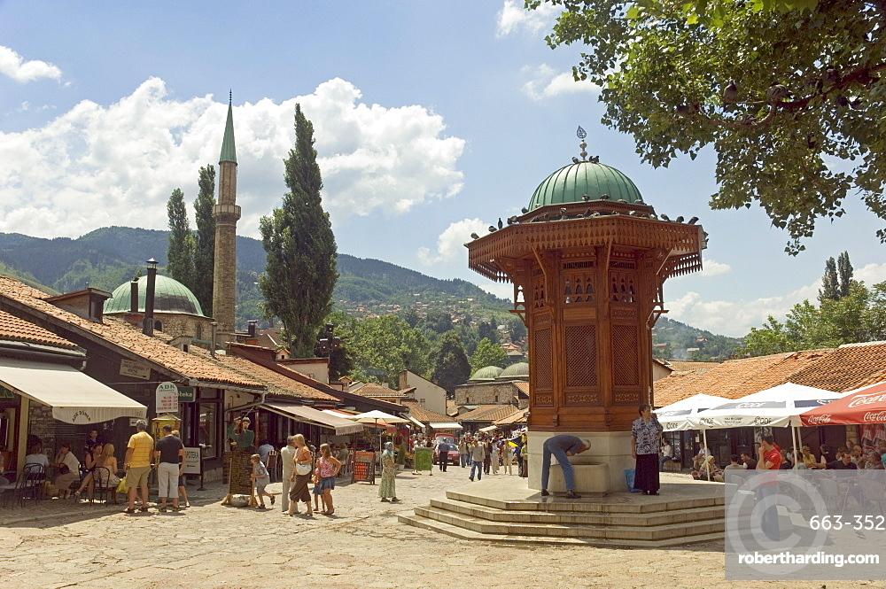 Sebilj fountain, Bascarsija market, Sarajevo, Bosnia, Bosnia-Herzegovina, Europe