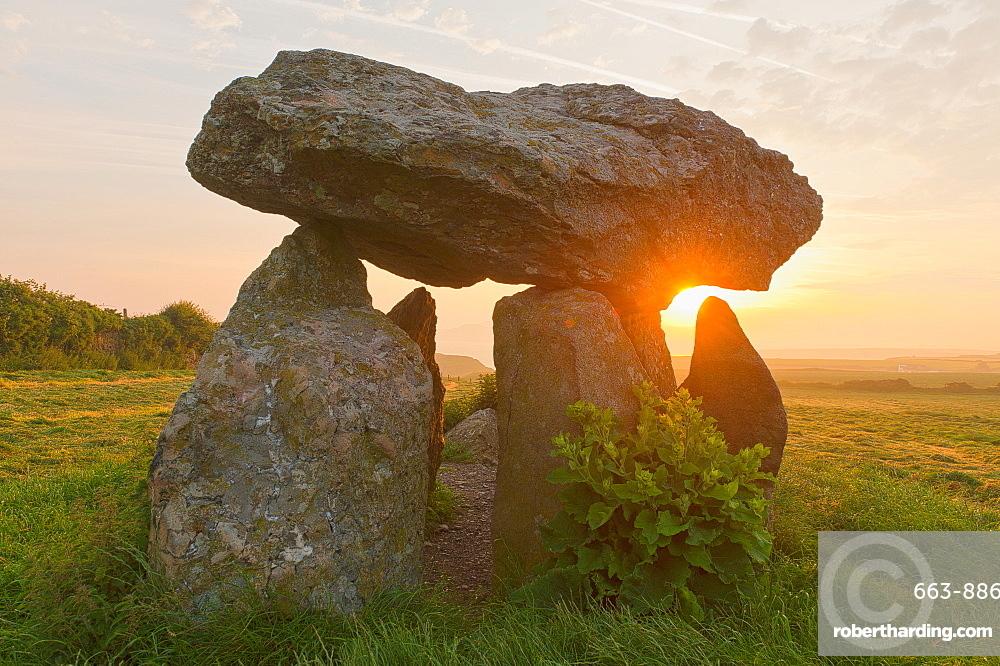 Carreg Samson Dolmen at sunrise, Abercastle, Pembrokeshire, Wales, United Kingdom, Europe