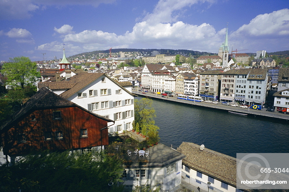 General view from Lindenhof of the city across the Zimmat River, Zurich, Switzerland, Europe