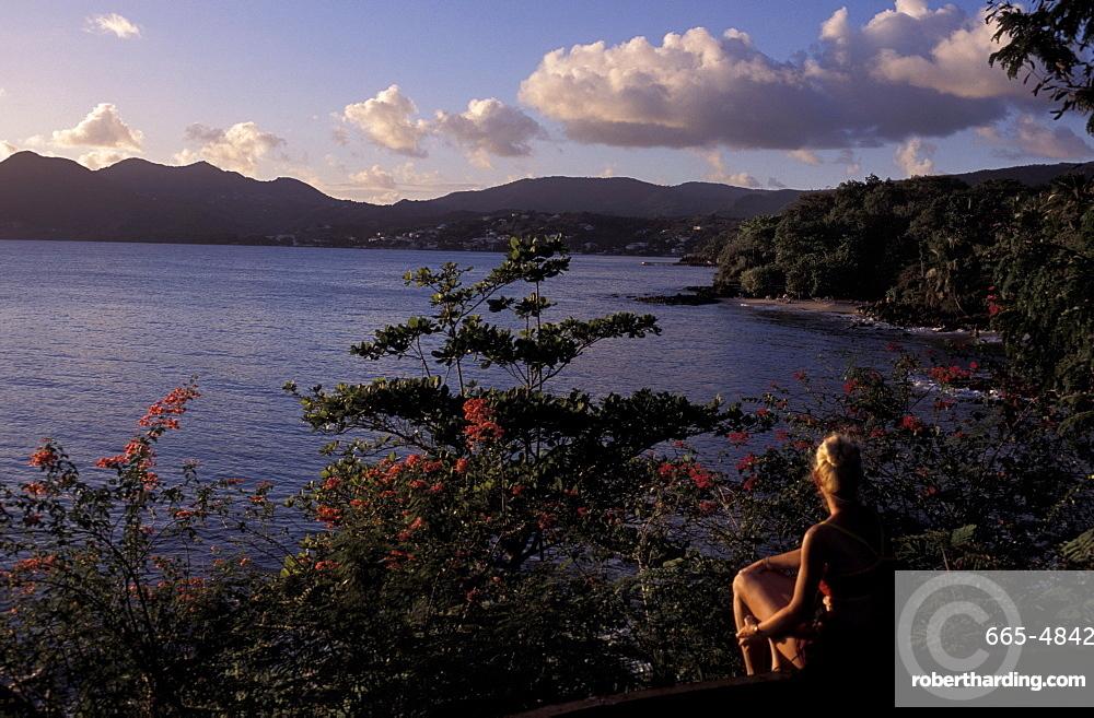 View over Morne Larcher, Baie de la Chery (Chery Bay), Martinique, West Indies, Caribbean, Central America