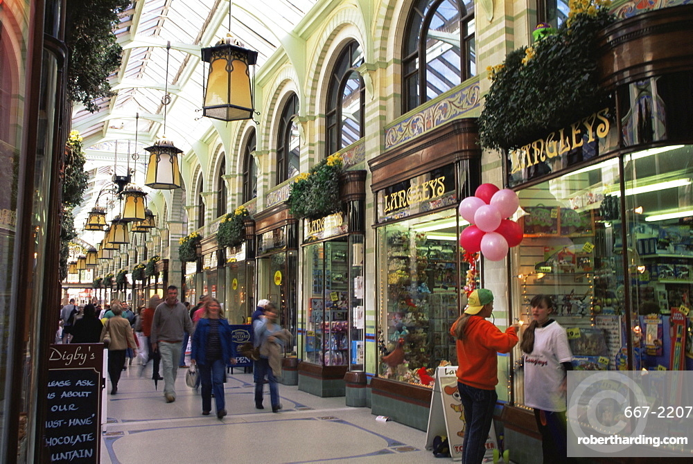 Shoppers in the Royal Arcade, Norwich, Norfolk, England, United Kingdom, Europe