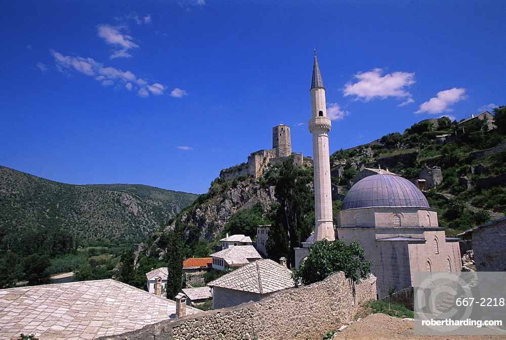 Village with mosque and castle, Pocitelj, Bosnia and Herzegovina, Europe