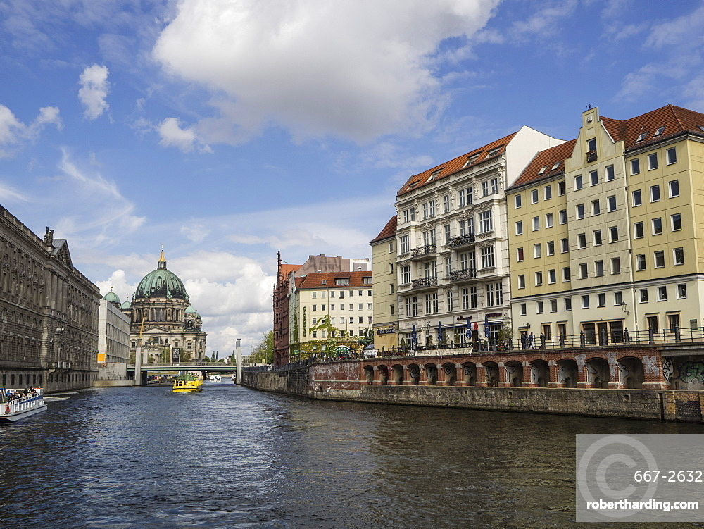View towards the Cathedral from the River Spree, Berlin, Germany, Europe