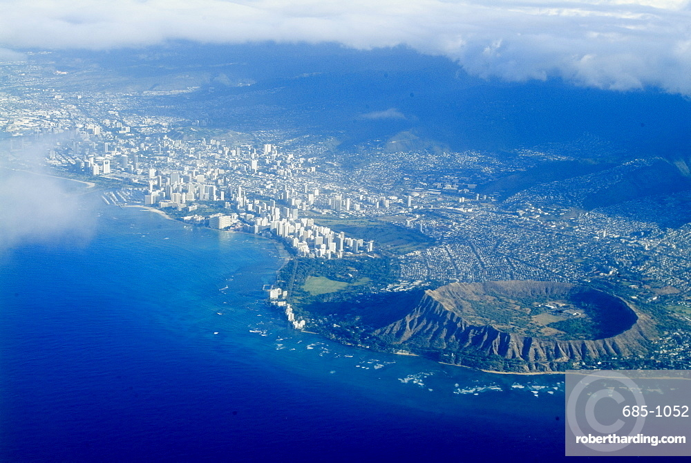 Aerial view of Honolulu, Waikiki and Diamond Head, Oahu, Hawaii, United States of America, Pacific, North America